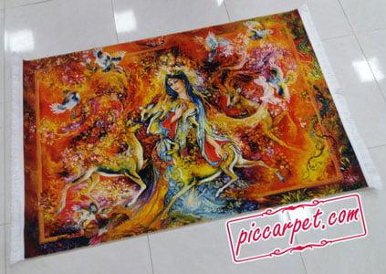 نمونهای از چاپ نقاشی مینیاتوری روی تابلو فرش