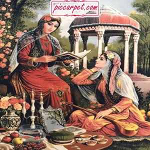 تابلو فرش ترکیبی شامل ایران باستان و تندیسها