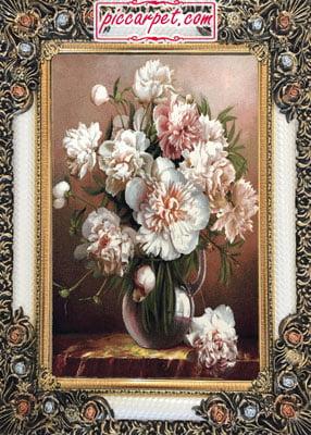 تابلو فرش ماشینی گل و گلدان با قاب شاپرک