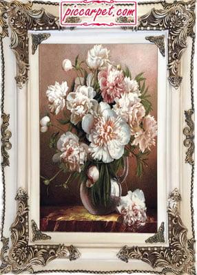 تابلو فرش گل 1500 شانه با قاب چوبی سفید