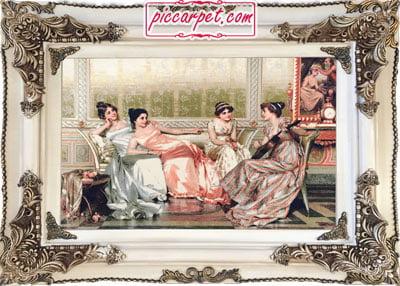 تابلو فرش فرانسوی 1500 شانه با قاب چوبی سفید
