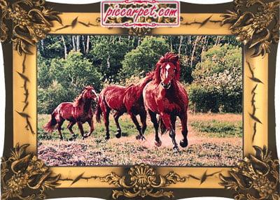 تابلو فرش اسب 1000 شانه با قاب شیرنشان