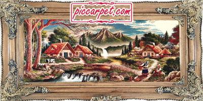 فرش تابلو طرح طبیعت 1000 شانه با قاب چوبی قهوهای