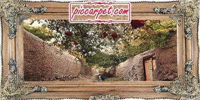 فرش تابلو طرح 3 بعدی کوچه باغ با قاب چوبی قهوهای