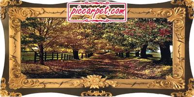 تابلو فرش پاییز زیبا با قاب اطلس عروس