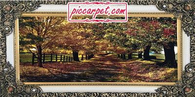 فرش تابلو 1200 شانه طرح پاییز با قاب شاپرک