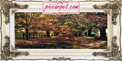 تابلو فرش پاییز 1200 شانه با قاب چوبی سفید