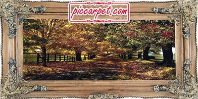 تابلو فرش ماشینی طرح پاییز با قاب چوبی قهوهای