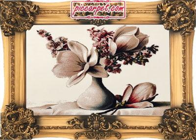 تابلو فرش طرح گل 1000 شانه با قاب شیرنشان