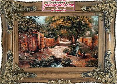 تابلو فرش طرح کوچه باغ با قاب چوبی قهوهای