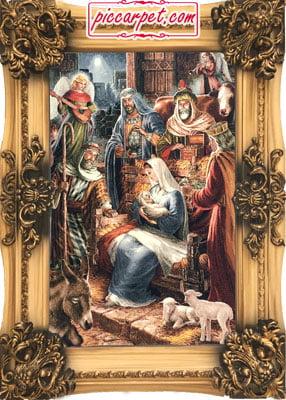 تابلو فرش حضرت مریم با قاب شیرنشان