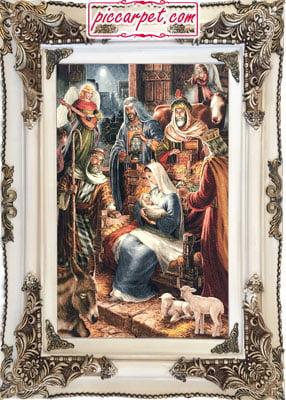 تابلو فرش حضرت مریم با قاب چوبی سفید