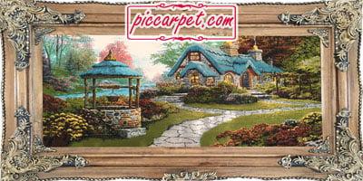 تابلو فرش ماشینی کلبه سنگی با قاب چوبی قهوهای