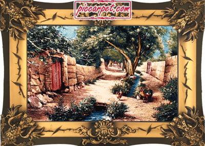 تابلو فرش کوچه باغ روستایی با قاب شیرنشان
