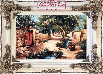 تابلو فرش کوچه باغ روستایی با قاب چوبی