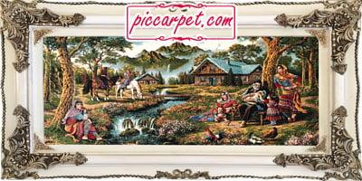 تابلو فرش طرح منظره روستایی با قاب چوبی سفید