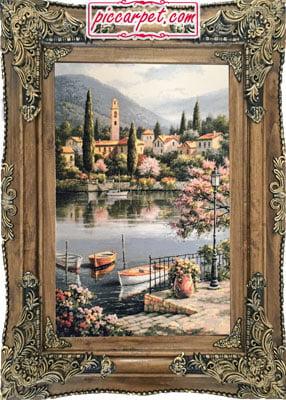 تابلو فرش طرح دریاچه و قایق با قاب چوبی قهوهای