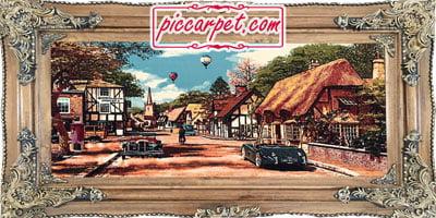 فرش تابلو ماشینی منظره با قاب چوبی قهوهای
