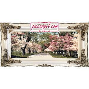 تابلو فرش شکوفه های بهاری