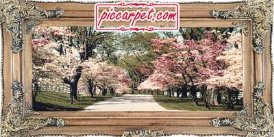 تابلو فرش ماشینی طرح شکوفه بهار با قاب چوبی قهوهای