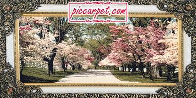 فرش تابلو طرح بهار 1200 شانه با قاب شاپرک