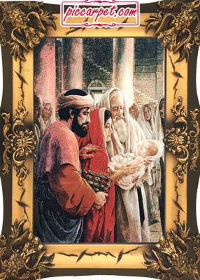 تابلو فرش تولد حضرت مسیح با قاب شیرنشان