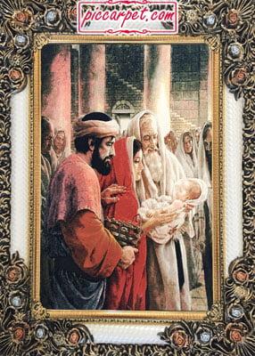 فرش تابلو مسیح با قاب شاپرک