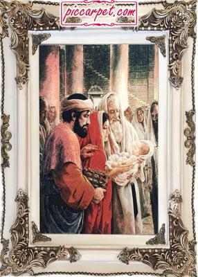 تابلو فرش تولد حضرت مسیح با قاب چوبی سفید
