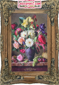 تابلو فرش طرح گل و میوه چاپی