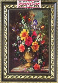 تابلو فرش گل و گلدان با قاب پروفیلی