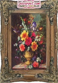 تابلوفرش چاپی طرح گل و گلدان