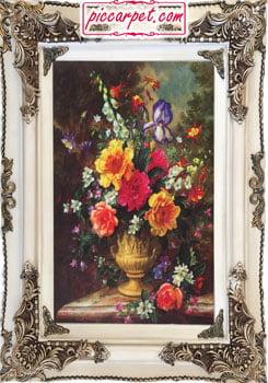 تابلو فرش گل و گلدان طلایی