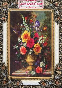 تابلو فرش طرح گل و گلدان با قاب شاپرک