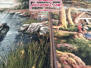 ریشه و زیگزاگ تابلو فرش ماشینی کاشان