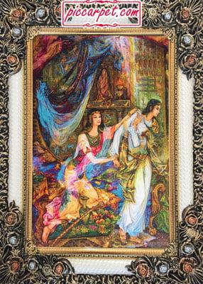 فرش تابلو طرح نقاشی مینیاتور با قاب شاپرک