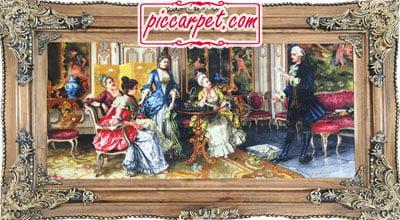 تابلوفرش چاپی طرح شاعر جوان با قاب چوبی قهوهای