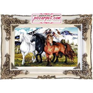 تابلو فرش سه اسب