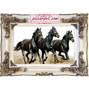 تابلو فرش اسب سیاه