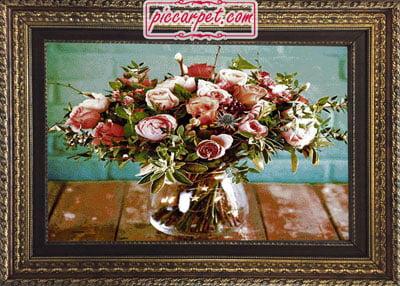 تابلو فرش دسته گل با قاب پروفیلی