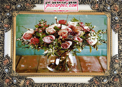 تابلو فرش ماشینی گل رز با قاب شاپرک