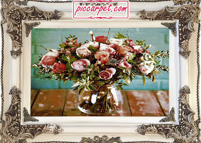 تابلو فرش دسته گل با قاب چوبی سفید