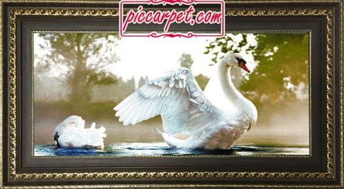 تابلو فرش مرغابی با قاب پروفیلی