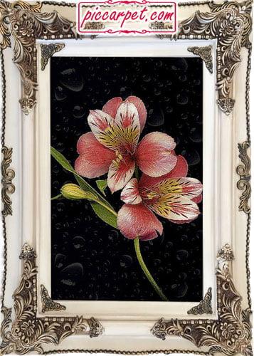 تابلو فرش شاخه گل با قاب چوبی سفید