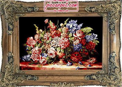 فرش تابلو ماشینی گل و گلدان با قاب چوبی قهوهای