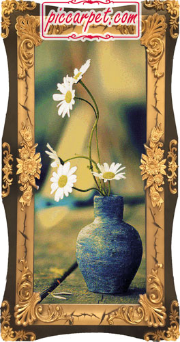 تابلو فرش گلدان گل با قاب شیرنشان