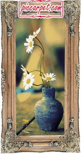 تابلو فرش طرح گلدان آبی با قاب چوبی قهوهای
