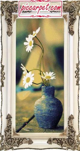 تابلو فرش گلدان گل با قاب چوبی سفید
