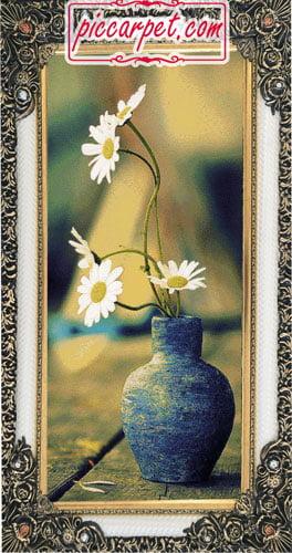 تابلو فرش ماشینی طرح گلدان با قاب شاپرک