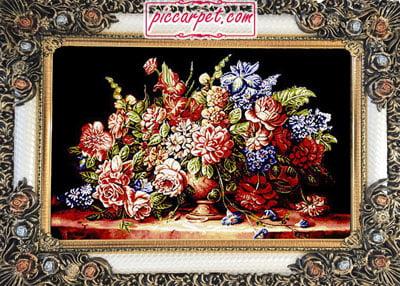 تابلوفرش طرح گل با قاب شاپرک