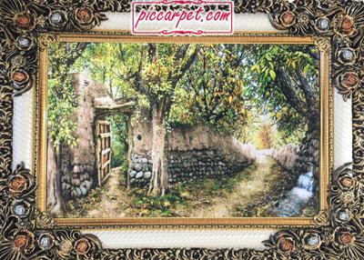 تابلو فرش منظره کوچه باغ با قاب شاپرک